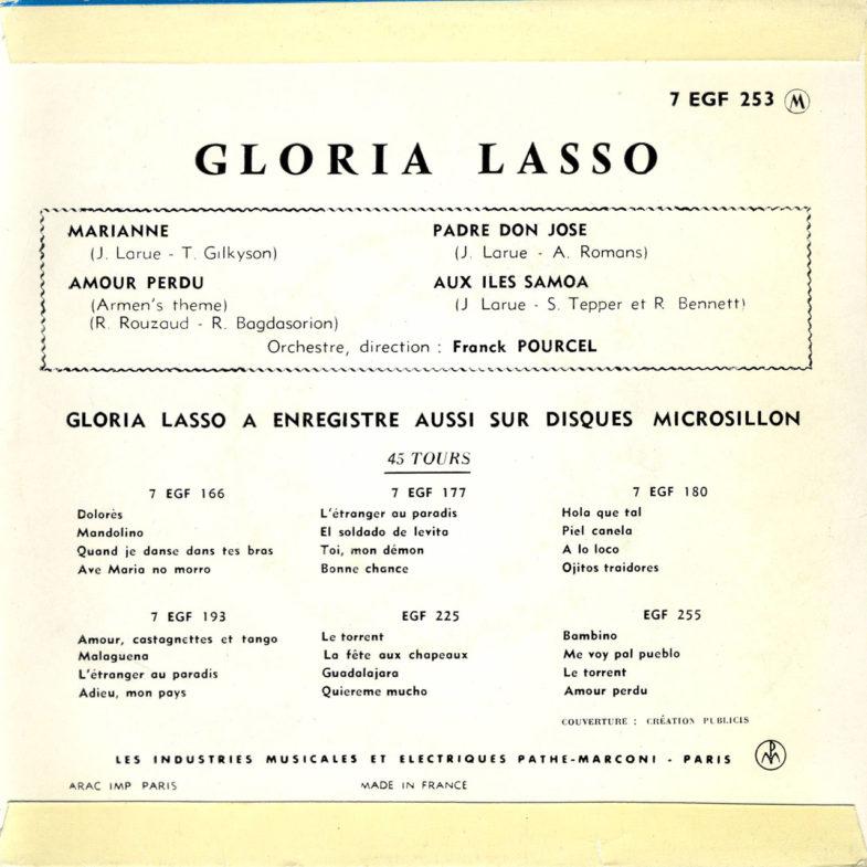 Gloria Lasso ① Marianne F.RCA EFG253-2