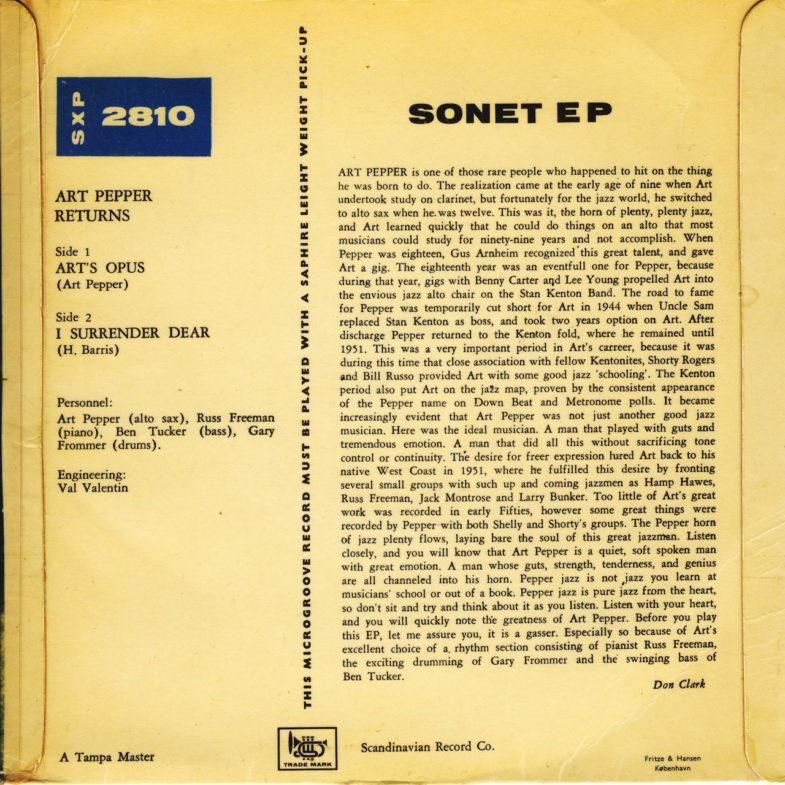 Art Pepper Quartet Sonet EP2810-2