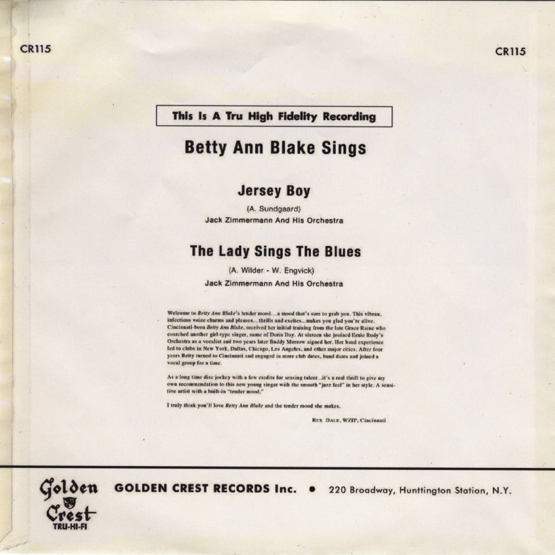 Betty Ann Blake The Lady Sings The Blue Golden Crest CR115-2