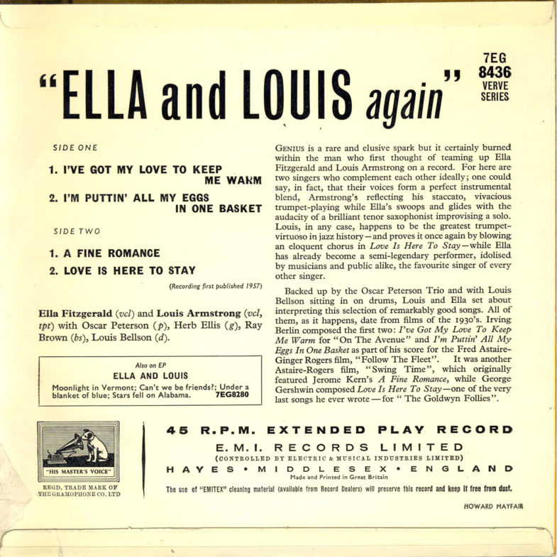 Ella Fitzgereld Ella and Louis Again HMV 7EG8436-2
