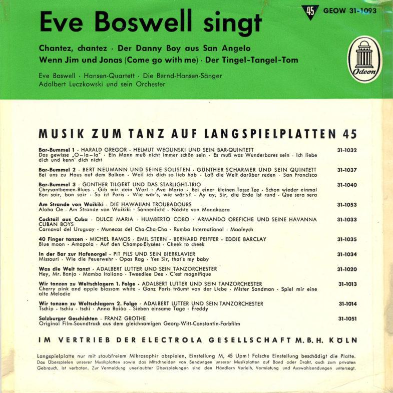 Eva Boswell singt OdeonGEOW311093-2