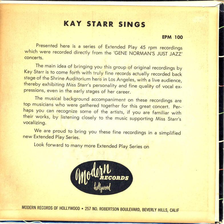 Kay Starr Concerts Modern EPM100-2