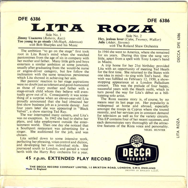 Lita Roza Jimmy Unknow DECCA DFE6386-2