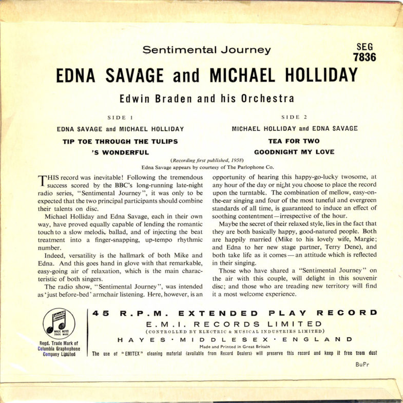 Michael Holliday Sentimental Journey Columbia SEG7836-2