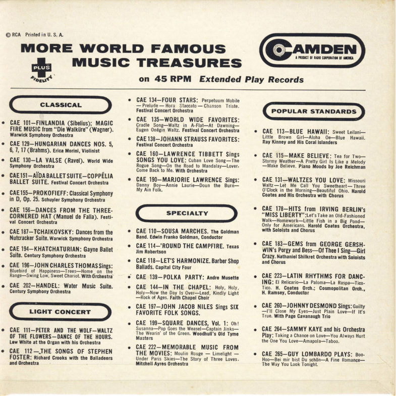 Mindy Carson Songs You Love Camden CAE235-2