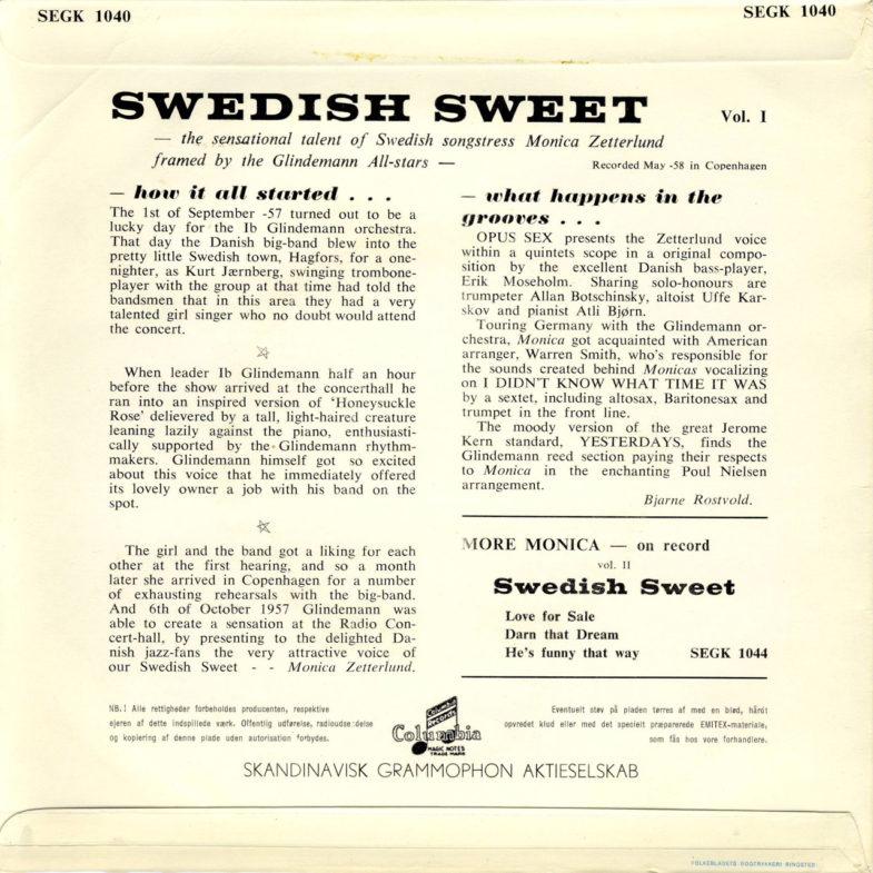 Monica Zetterlund Swedish Sweet 1 Columbia SEGK1040-2