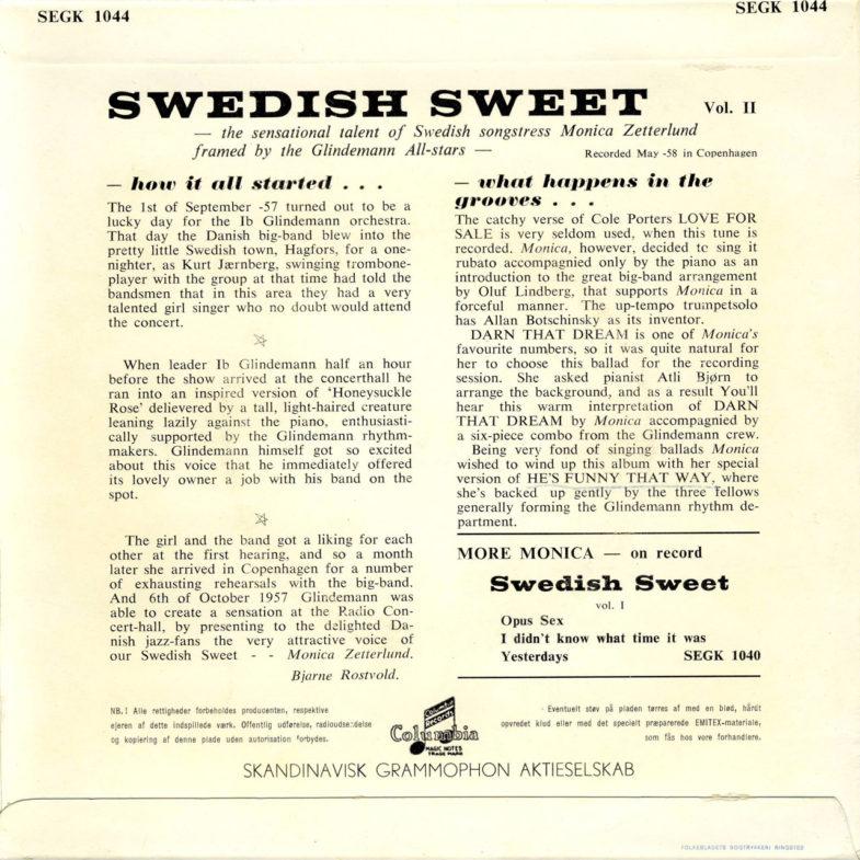 Monica Zetterlund Swedish Sweet 2 Columbia SEGK1044-2