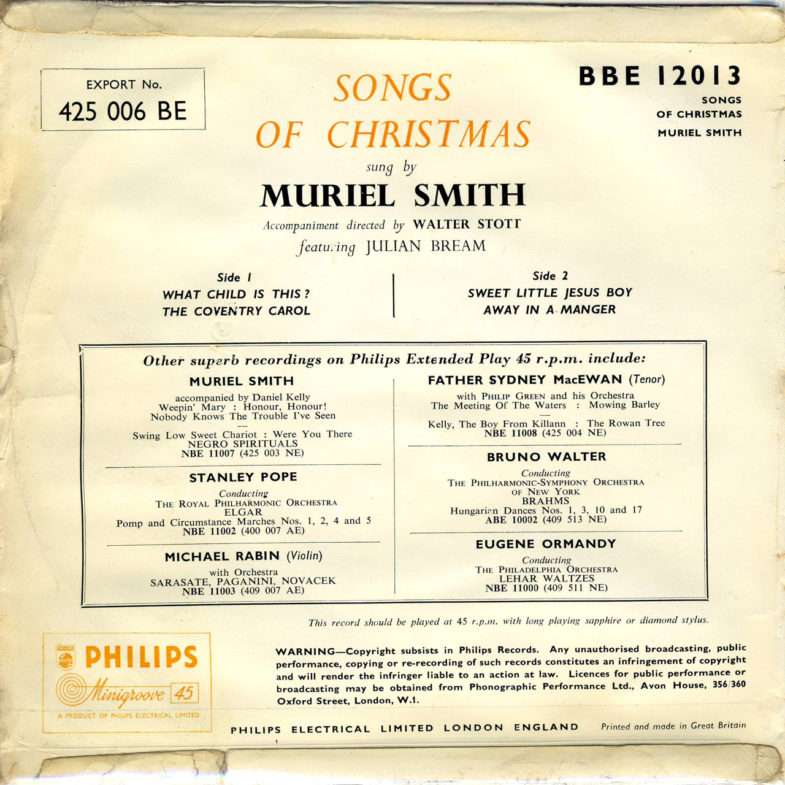 Muriel Smith Songs of Christmas Philips 425006BE-2