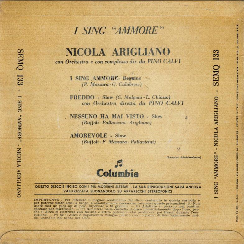 Nicola Arigliano I Sing Ammore Columbia SEMQ133-2