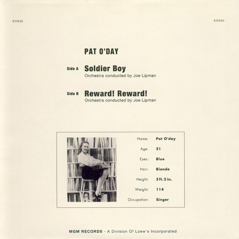 Pat O Day Soldier Boy MGM K12025-2