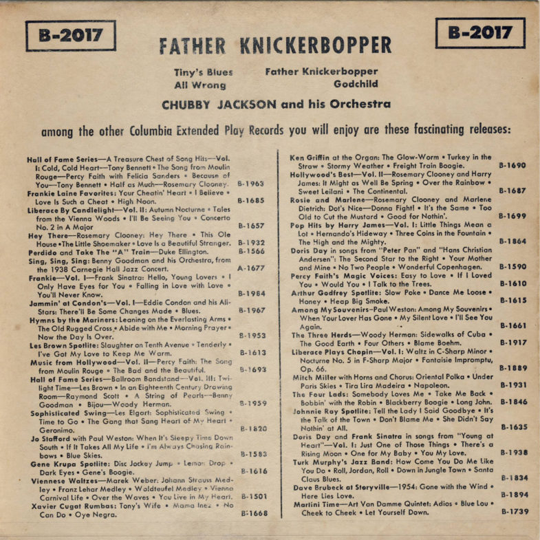 Paula Castele Father Knicker Bopper Columbia B2017-2