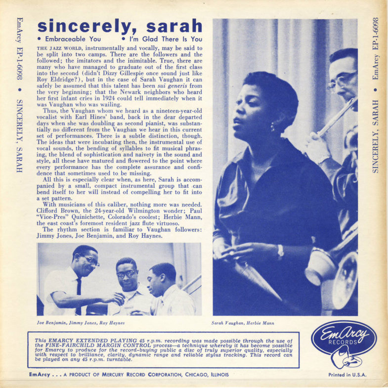 Sarah Vaughan Sincerely Emarcy EP16098-2