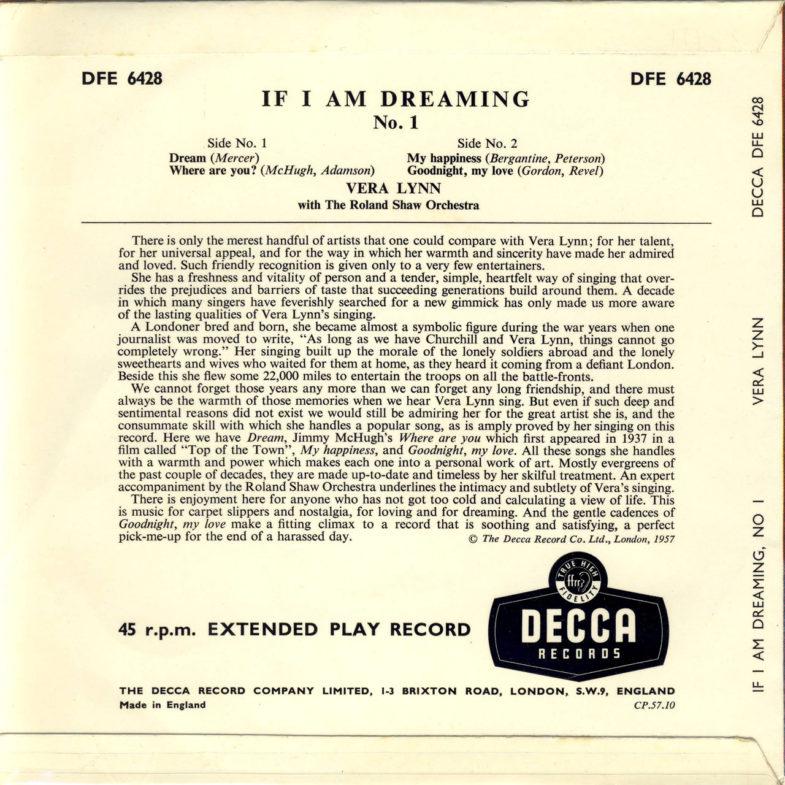 Vera Lynn If I Am Dreaming DECCA DFE6428-2